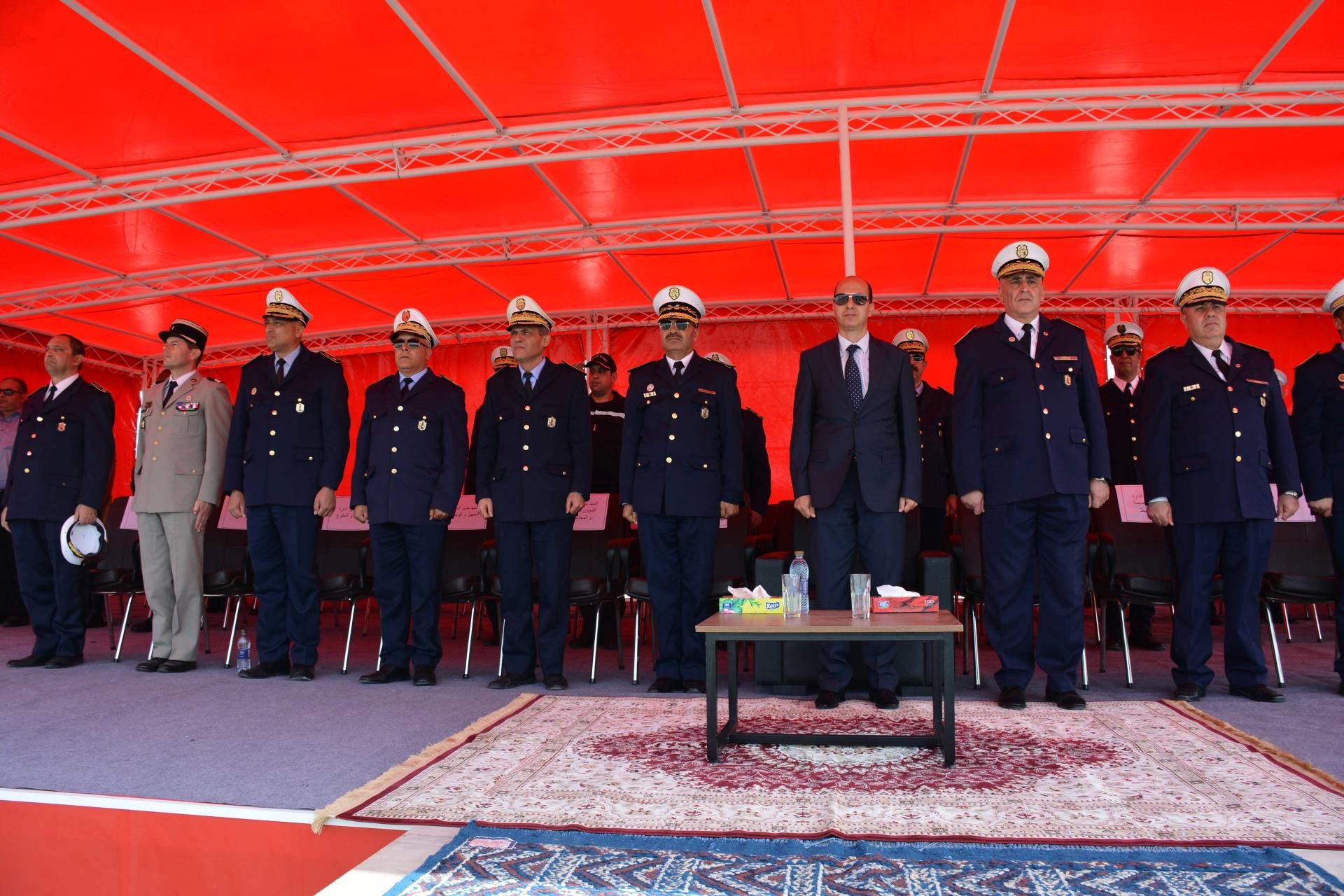 حفل تعليق شارات الرتب والأوسمة بمناسبة الذكرى 63 لعيد قوات الأمن الداخلي بالمدرسة الوطنية للحماية المدنية